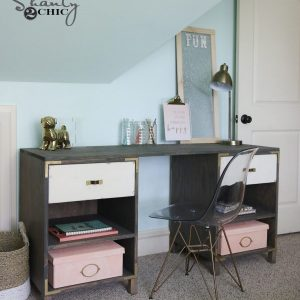 diy cubby storage desk