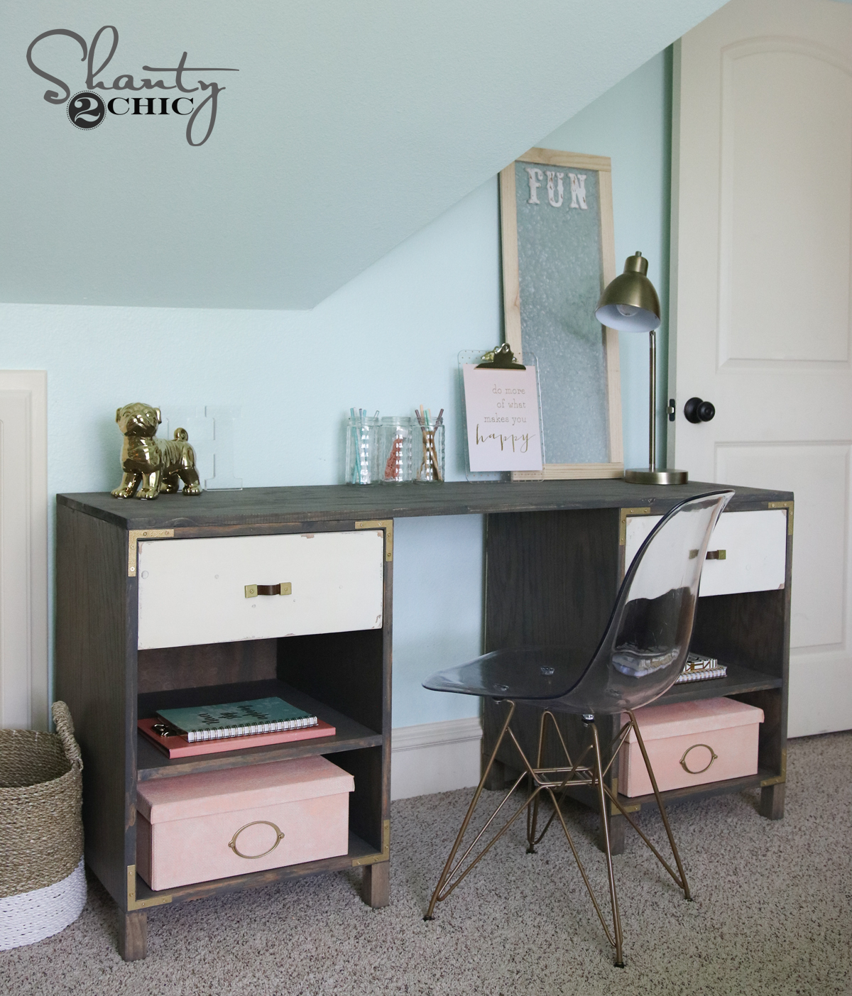 DIY Cubby Storage Desk - Shanty 2 Chic