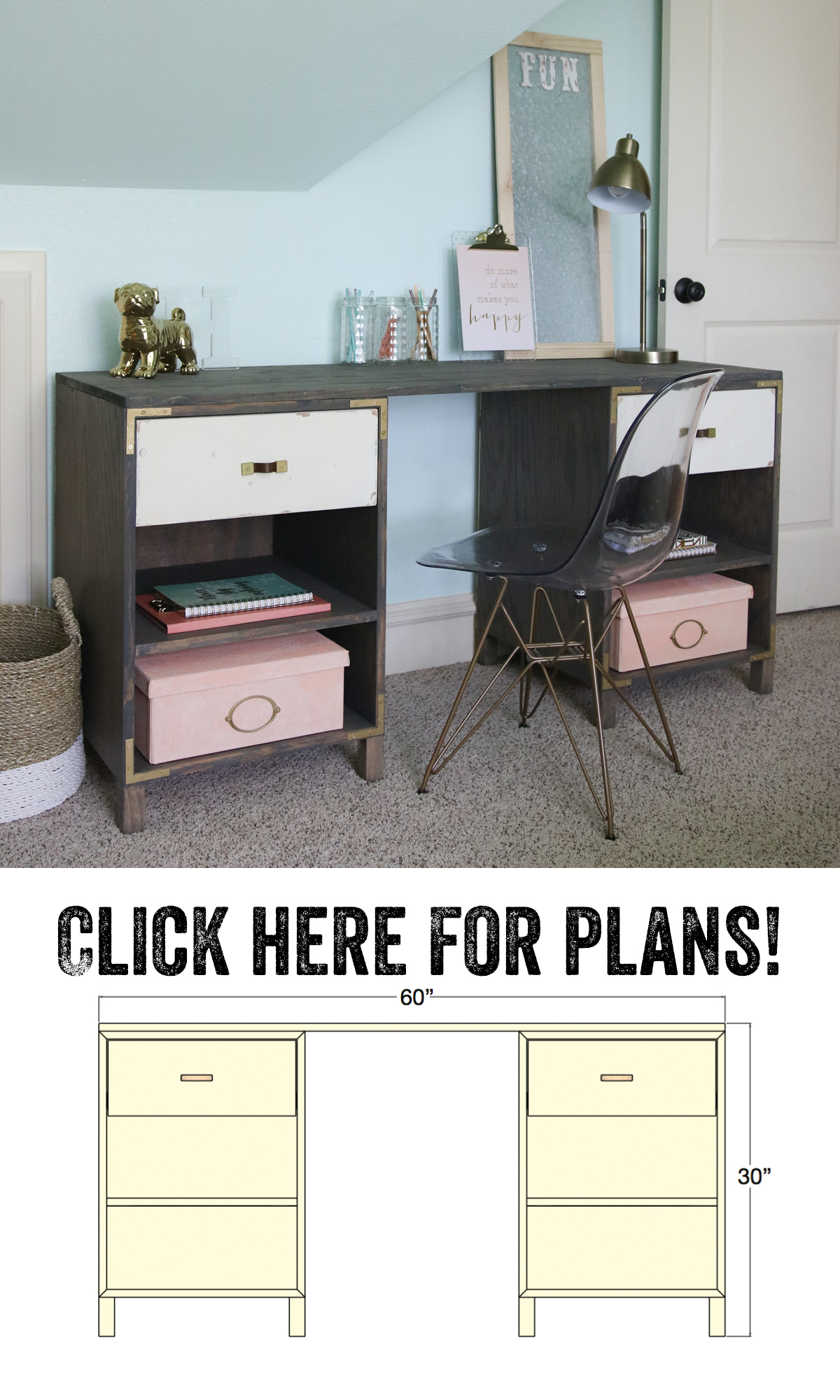 diy cubby storage desk shanty 2 chic. Black Bedroom Furniture Sets. Home Design Ideas