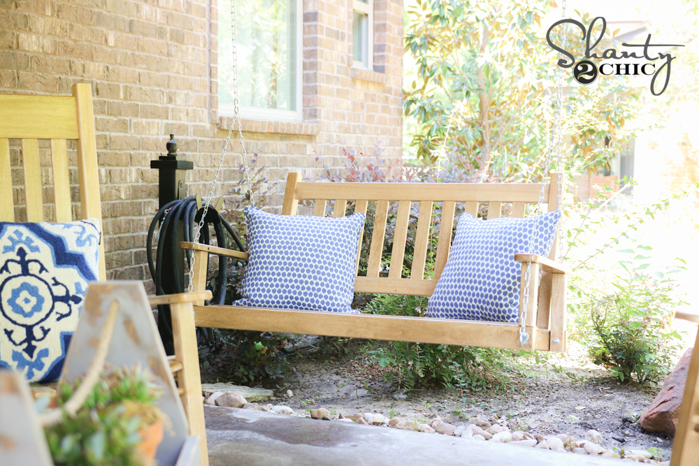 Wayfair back patio makeover shanty 2 chic for Shanty 2 chic porch swing