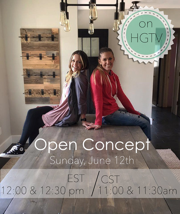 Be sure to catch the next two episodes of our show, Open Concept on HGTV on Sunday, June 12th at 11:00 and 11:30am CST!