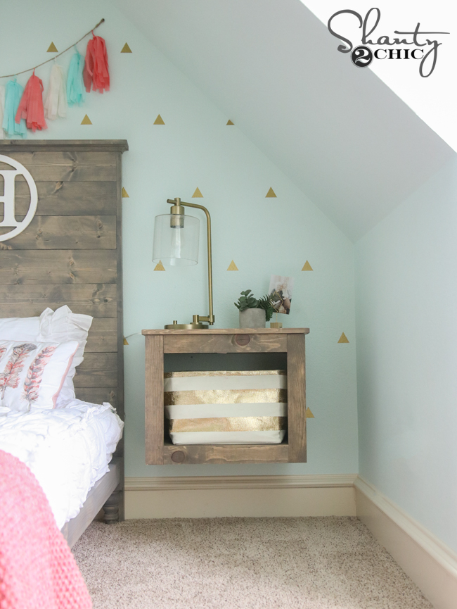 DIY Floating Storage Nightstand - Shanty 2 Chic