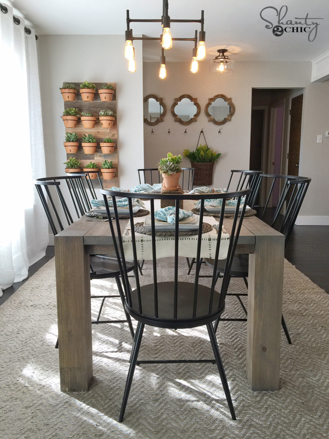 Diy modern farmhouse table as seen on hgtv open concept for Modern farmhouse dining chairs