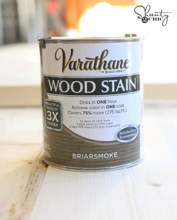 We used our favorite stain briarsmoke by varathane you can find it here on amazon make sure to watch our how to stain wood video to learn how we get our