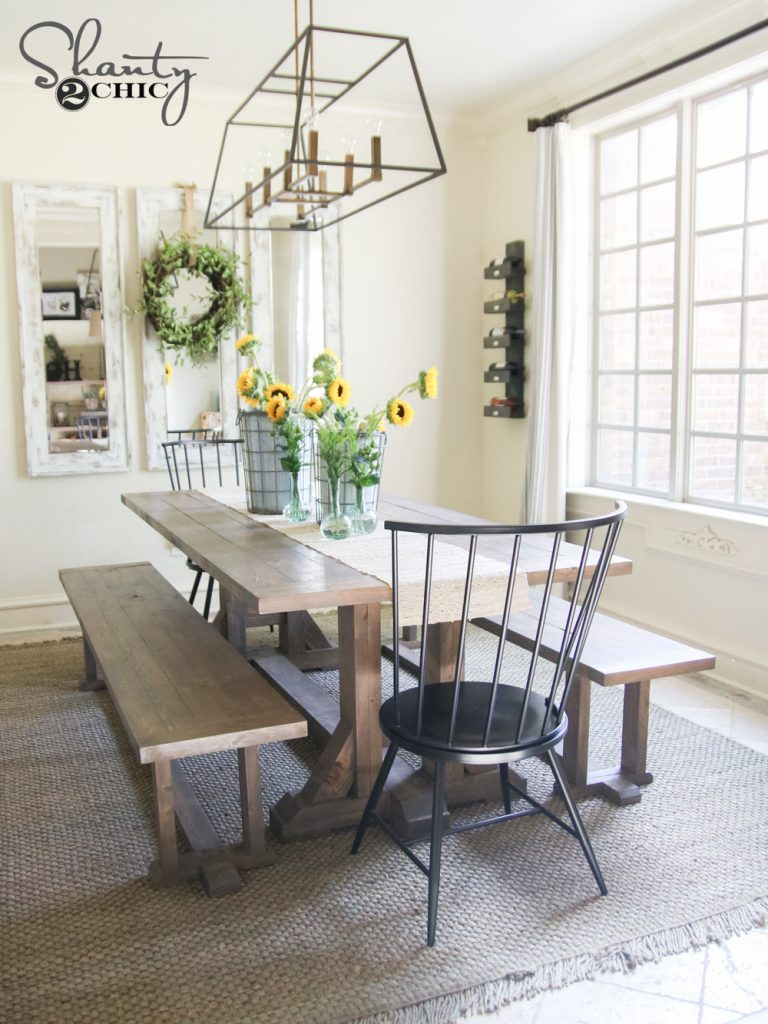 Diy farmhouse dining bench plans and tutorial shanty 2 chic for Farmhouse dining room table set