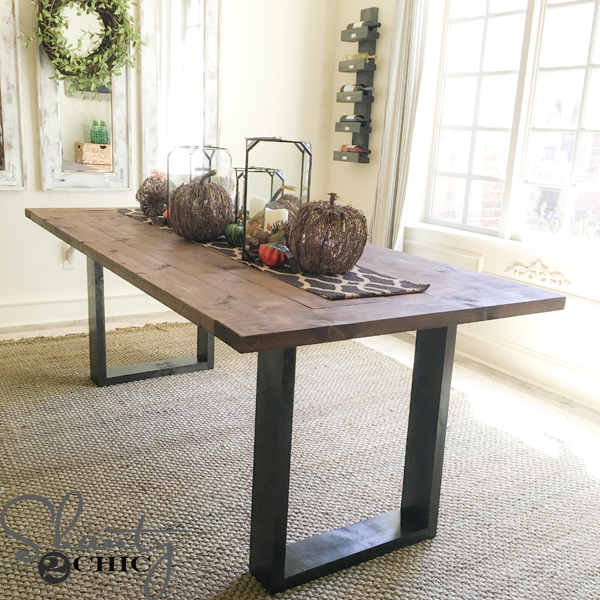 Diy rustic modern dining table shanty 2 chic for Rustic dining room table plans
