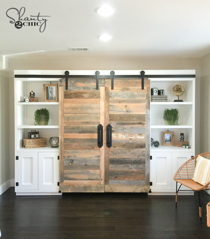 diy-sliding-barn-door-hidden-desk-by-shanty2chic & Hidden Study with Sliding Barn Doors as seen on HGTVu0027s Open Concept ...