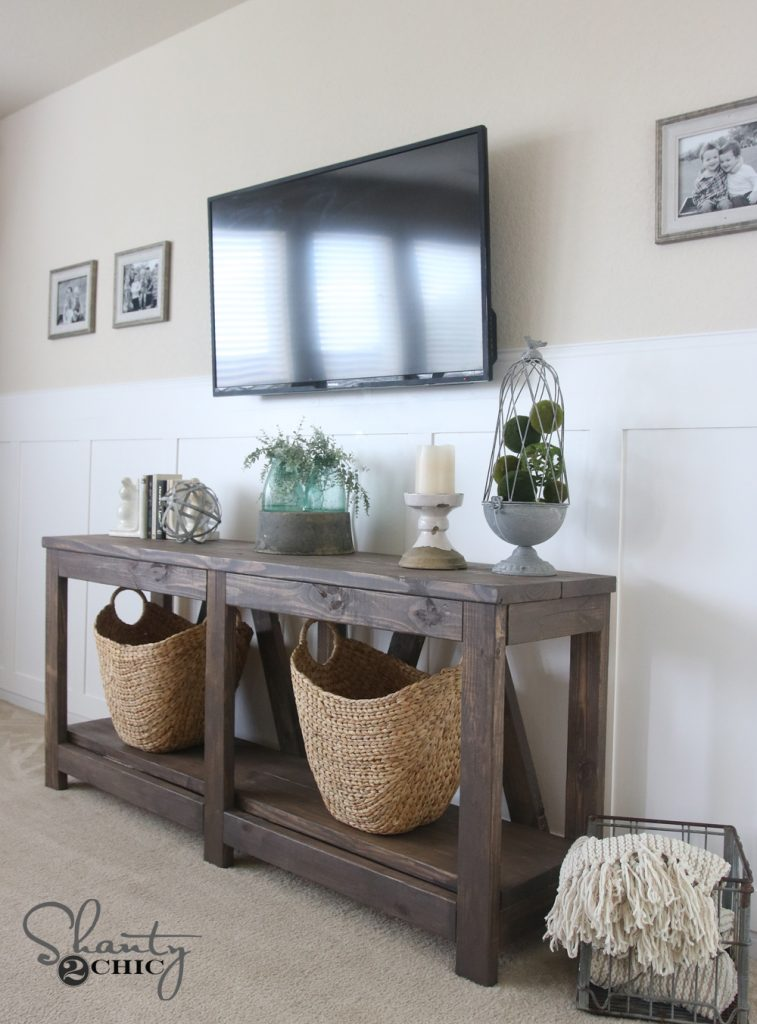 diy diagonal base farmhouse console table shanty 2 chic. Black Bedroom Furniture Sets. Home Design Ideas