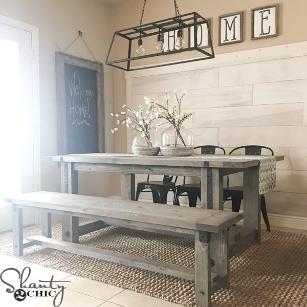 Diy industrial farmhouse table and how to video shanty 2 for Industrial farmhouse plans