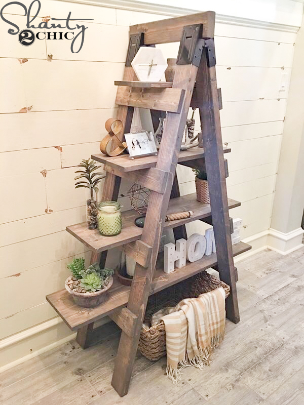Diy sawhorse bookcase and how to video shanty 2 chic for Diy ladder bookcase