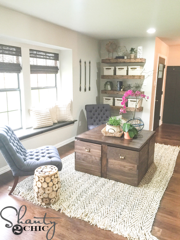 DIY Rolling Storage Ottoman Coffee Table - Shanty 2 Chic