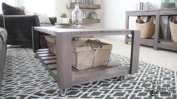 diy crate coffee table on wheels - shanty 2 chic