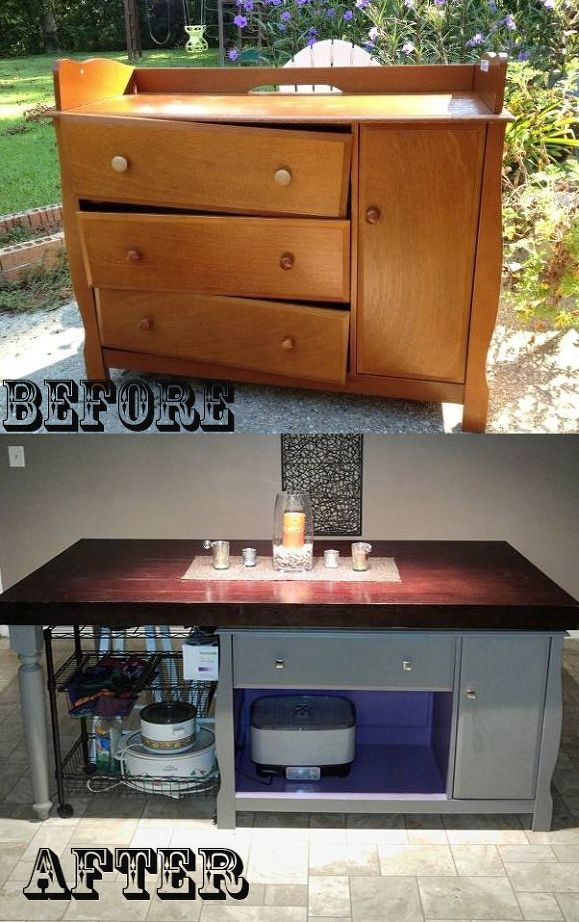 From A Changing Table To A Kitchen Island Shanty 2 Chic