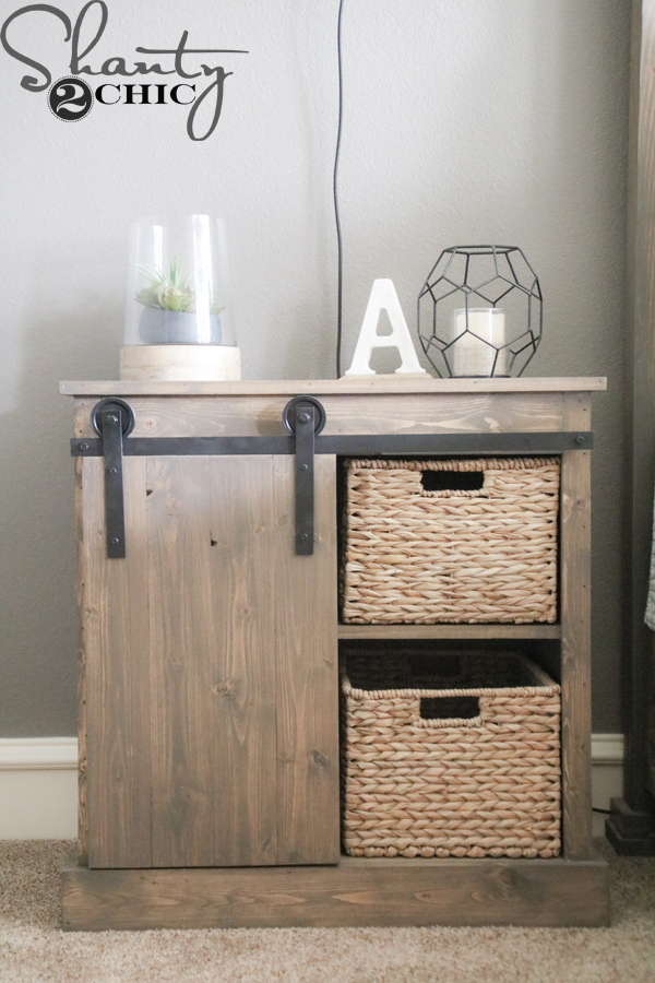 I keep all of my junk in the baskets and I keep magazines my tablet laptop and other stuff behind the door ? & Sliding Barn Door Nightstand - DIY - Shanty 2 Chic