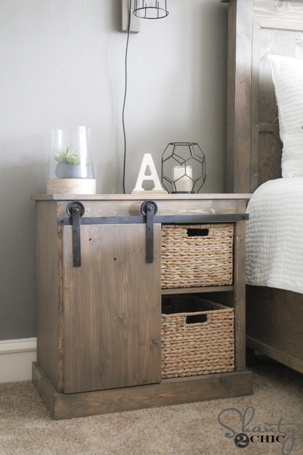 Sliding barn door nightstand diy shanty 2 chic for Wall mounted nightstand diy