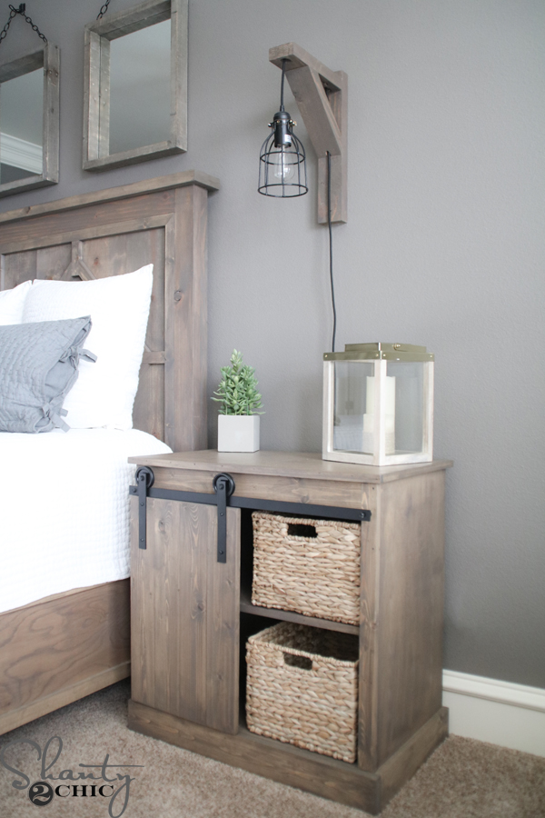 Sliding barn door nightstand diy shanty 2 chic for Simple nightstand designs