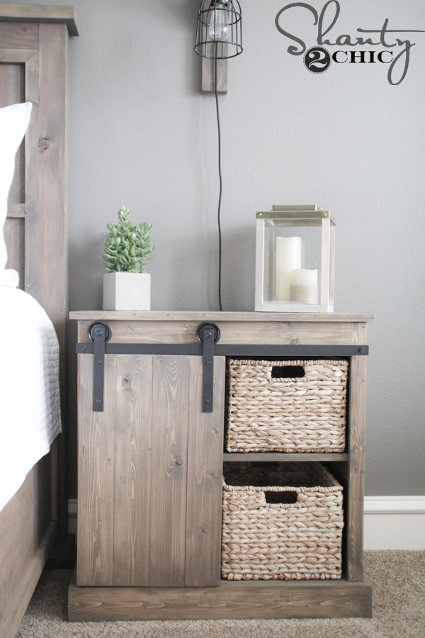 sliding barn door nightstand diy shanty 2 chic. Black Bedroom Furniture Sets. Home Design Ideas