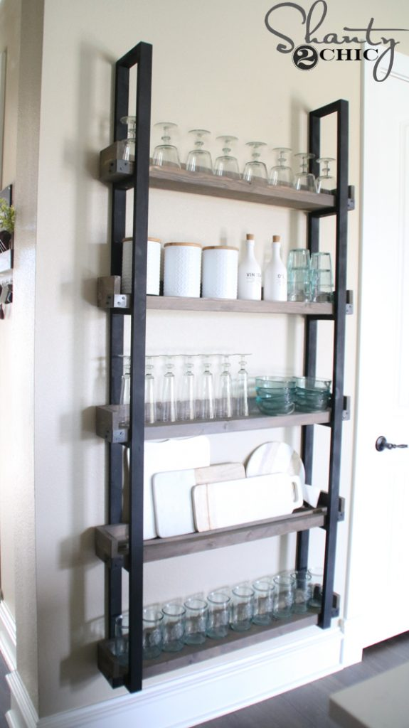 Now fill it up with your favorite plates cutting boards stemware\u2026.you name it! *Tip If you plan to use plates and cutting boards attach a piece of trim ... & DIY Floating Plate Rack and How-To Video - Shanty 2 Chic