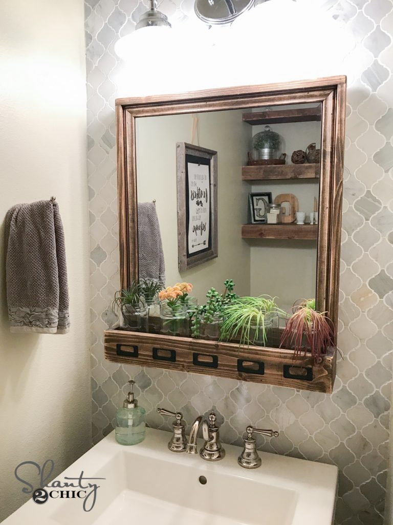 Diy Farmhouse Storage Mirror And Youtube Video Tutorial