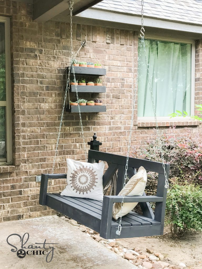Diy 40 farmhouse porch swing shanty 2 chic for Easy porch swing