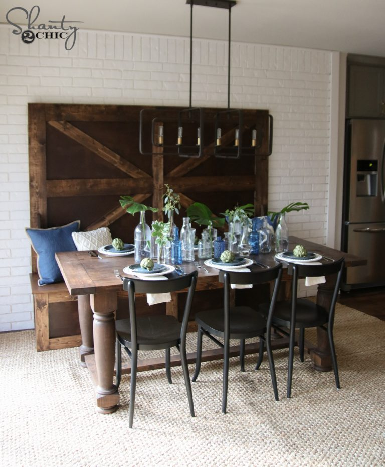 Farmhouse Dining Table: DIY Turned Leg Farmhouse Dining Table