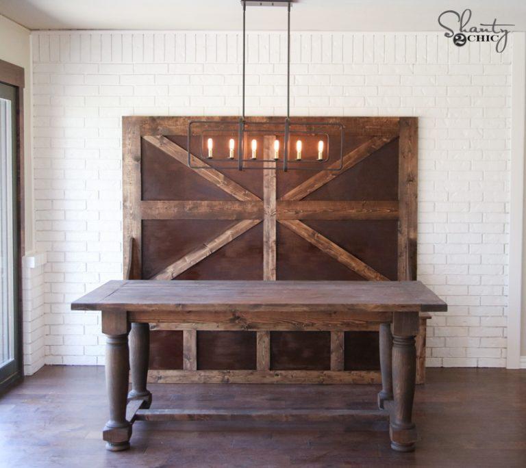DIY Turned Leg Farmhouse Dining Table Shanty 2 Chic