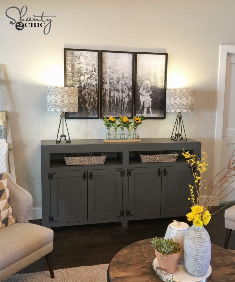 diy modern farmhouse media console table shanty 2 chic. Black Bedroom Furniture Sets. Home Design Ideas