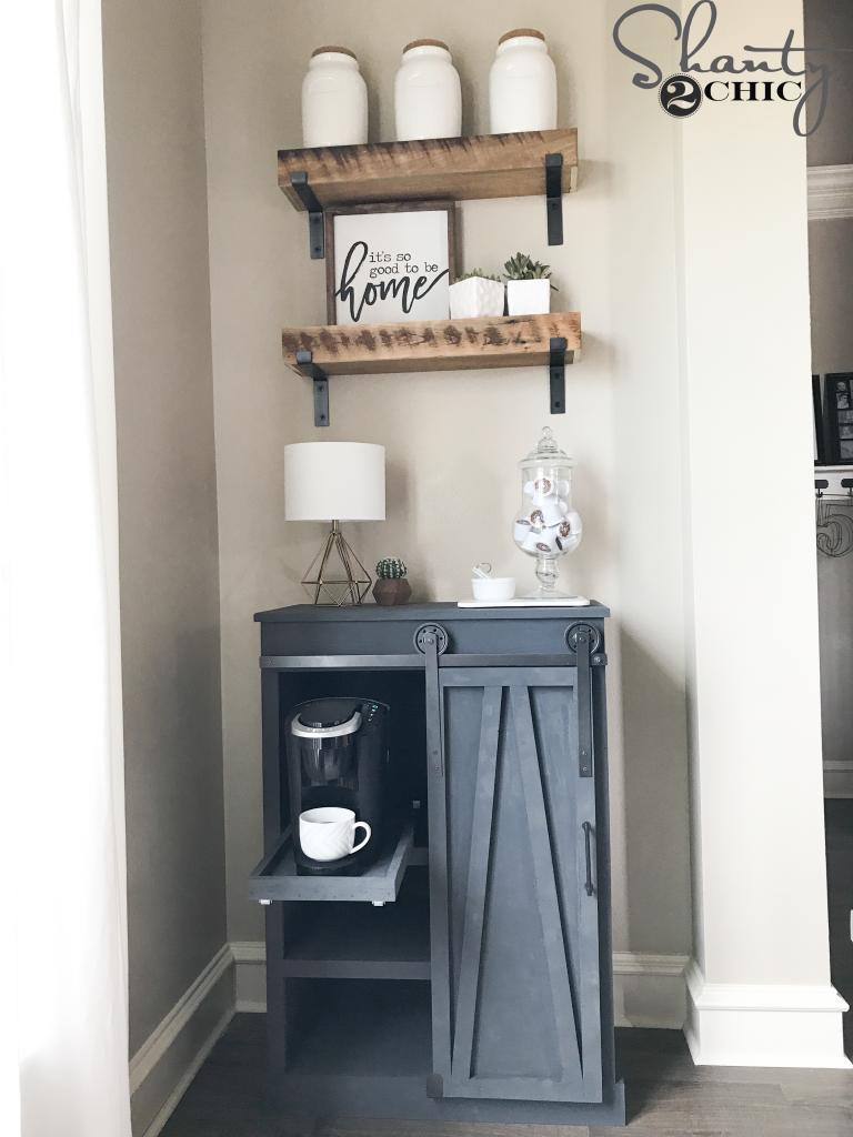 diy barn door coffee cabinet shanty 2 chic. Black Bedroom Furniture Sets. Home Design Ideas