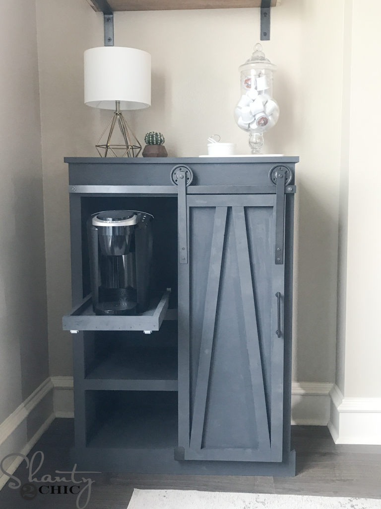 Diy Barn Door Coffee Cabinet A Great Solution For