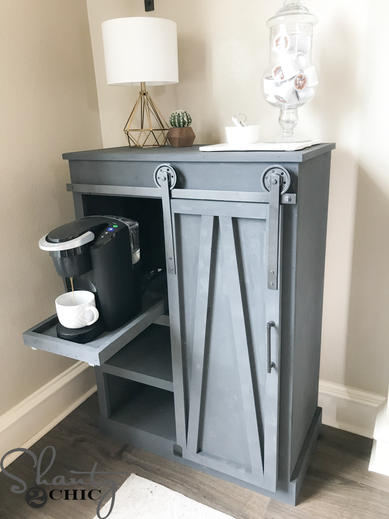 In The Spirit Of Saving E We Designed And Built A Slim Diy Barn Door Coffee Cabinet To House Our New Keurig K Compact Maker