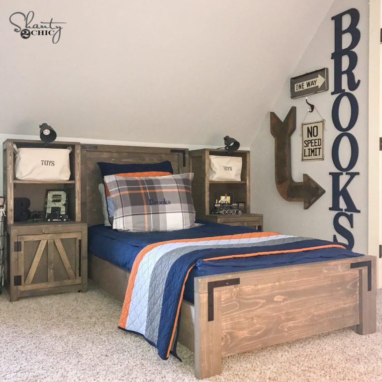 Diy modern farmhouse platform bed shanty 2 chic for Farmhouse bed plans