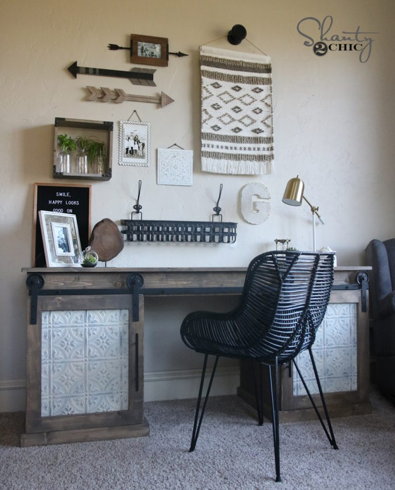 ... a desk that could hide lots of junk and house my printers so I came up with this! Look how cute it turned out! Here is my DIY Sliding Barn Door Desku2026 & DIY Sliding Barn Door Desk - Shanty 2 Chic