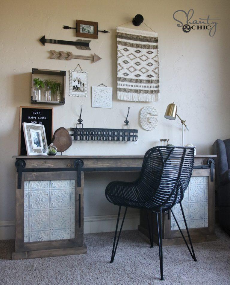 DIY Sliding Barn Door Desk - Shanty 2 Chic