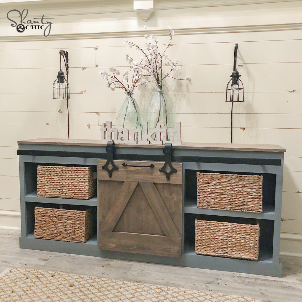 diy sliding barn door console shanty 2 chic. Black Bedroom Furniture Sets. Home Design Ideas