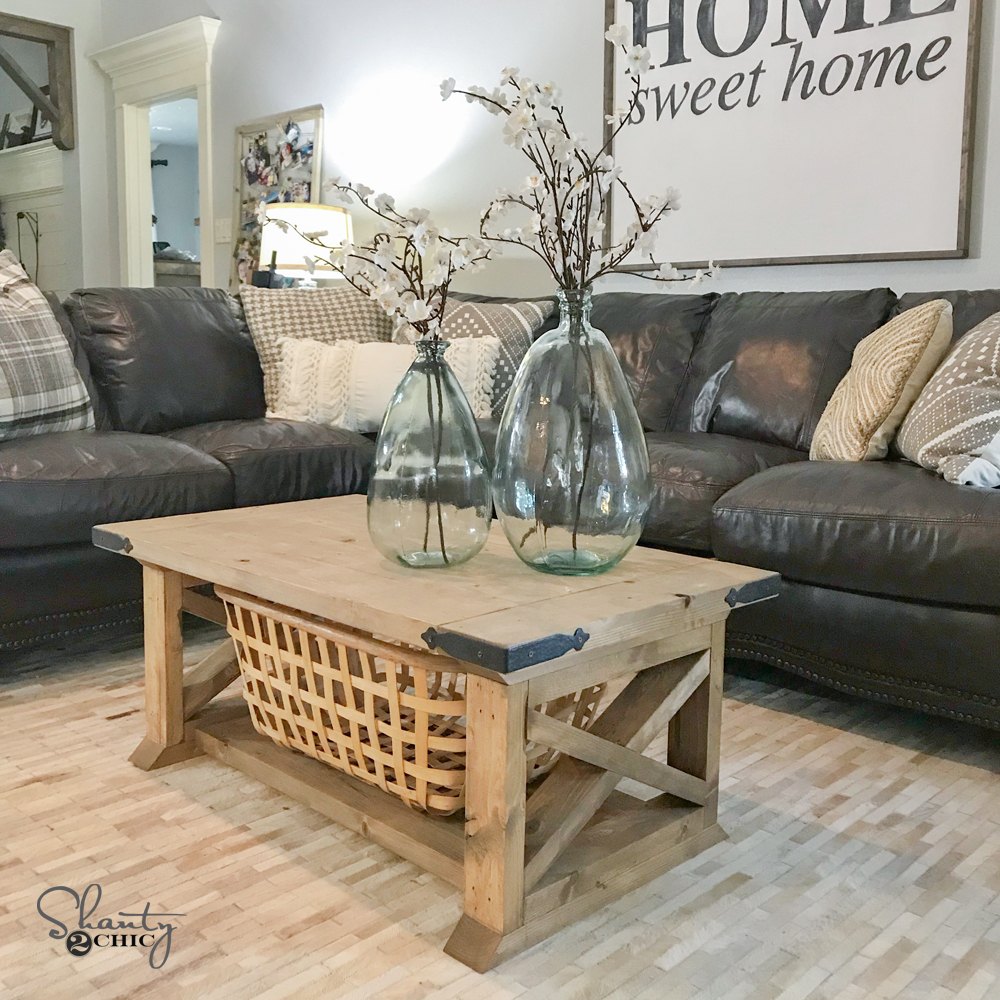 Diy 8 board farmhouse coffee table shanty 2 chic Homemade coffee table plans