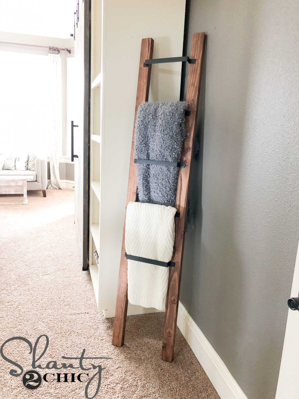 Barn Door Pull Blanket Ladder An Easy 15 Minute Diy Blanket Ladder