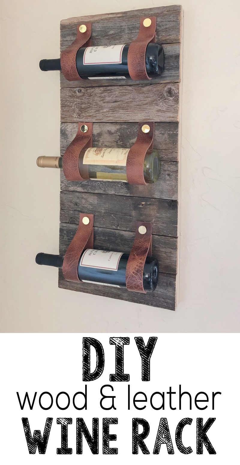 Hey hey guys! We have such a fun project for y'all today! We love mixing wood with other textures which lead us to this really project! You only need a few tools for this DIY Wood and Leather Wine Rack.  It's a fun and simple beginner woodworking project that would also make a super fun gift!  All you need is some scrap wood and a few other supplies!