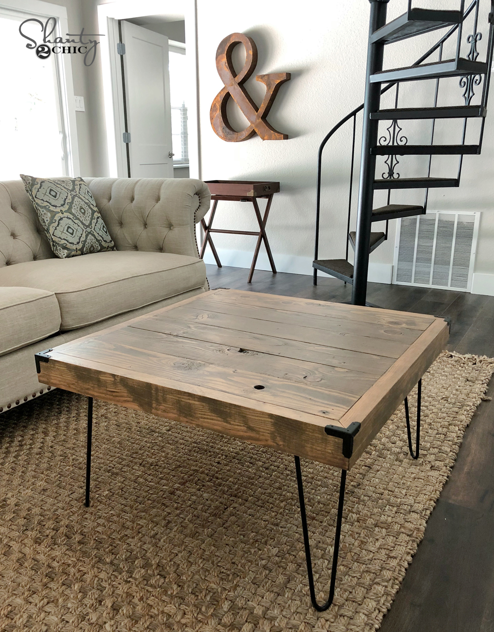 DIY $50 Square Hairpin Leg Coffee Table