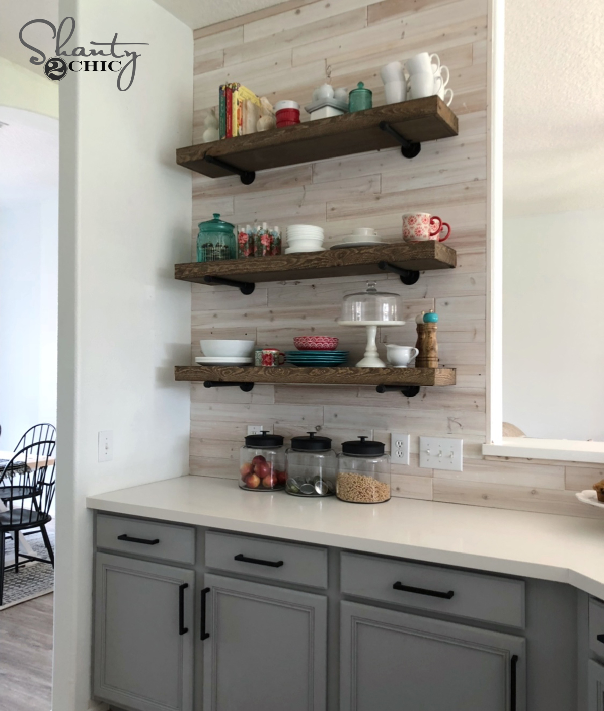 DIY Floating Pipe Shelves