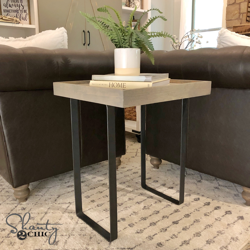 diy modern rustic end table shanty 2 chic. Black Bedroom Furniture Sets. Home Design Ideas