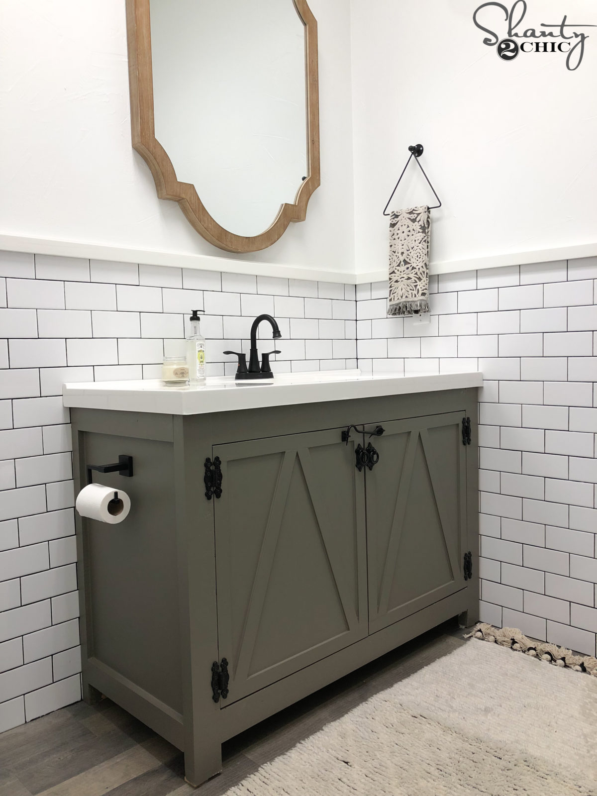 DIY Modern Farmhouse Bathroom Vanity - Shanty 2 Chic