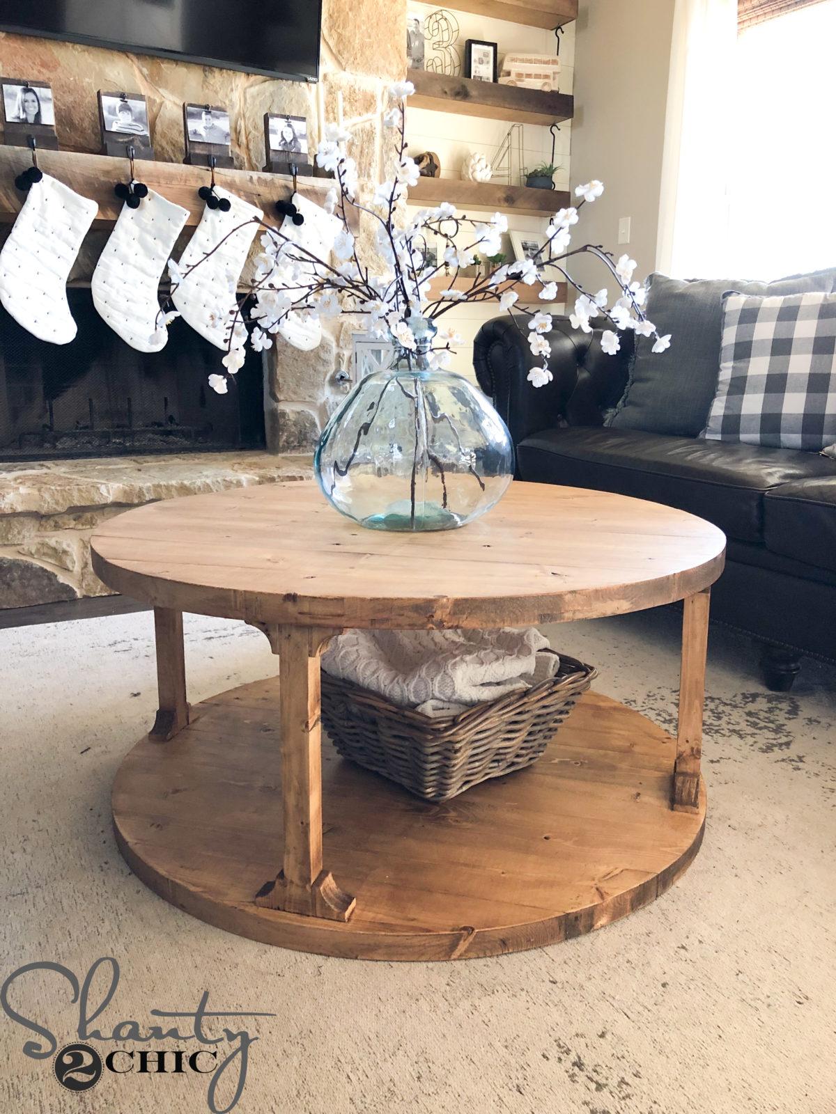 DIY Round Coffee Table - Shanty 2 Chic