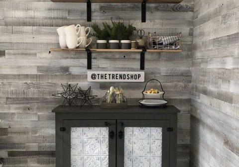 DIY Faux Tin Door Coffee Cabinet by Shanty2Chic
