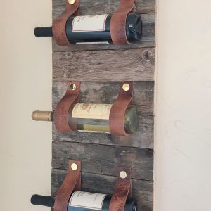 Wood and Leather Wine Rack by Shanty2Chic
