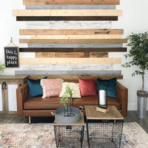 plank wall in office